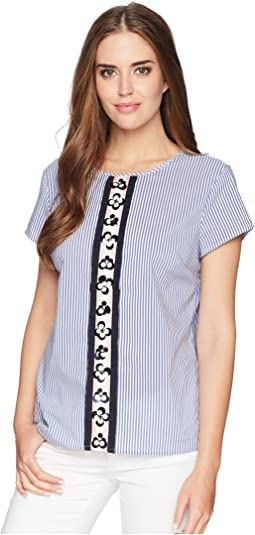 Cotton Stripe Shirting with Beading