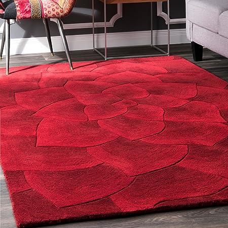 Amazon Com Nuloom Gol Hand Tufted Wool Rug 5 X 8 Red Furniture Decor