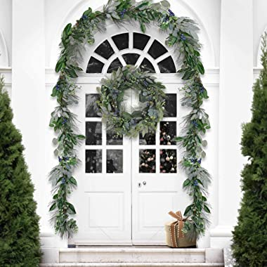 Valery Madelyn Pre-Lit 6 Feet Natural Spring Garland with Blueberries, Artificial Summer Fruit Garland with Eucalyptus Leaves