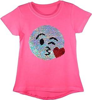 baad6ea43dbfb Générique Enfants Emoji Emoticons Lapin Cheval Flamant Smiley Visage T  Shirt Tee Top Brosse Changement Sequin