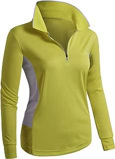 CLOVERY Women's Sport Wear Long Sleeve 2-Tone Zip-up POLO Shirt
