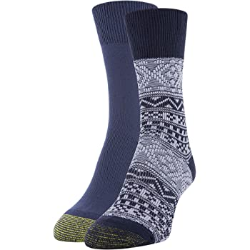 Gold Toe Women's Fairisle Crew Socks, 2 Pairs, Peacoat Fairisle, Peacoat, Shoe Size: 6-9