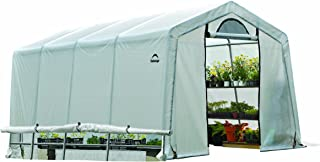 ShelterLogic 10' x 20' x 8' GrowIT Box Peak Style Roof and Easy Flow Roll-Up Side Vents Greenhouse, 10 by 20 by 8-Feet