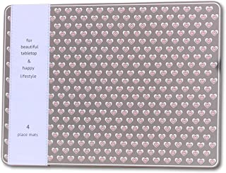 WHW Whole House Worlds Romantic Pink, Gray, and White Heart Place Mats, Set of 4, 100 Percent Cork Backed Hard Board, Heat Resistant, Gray Background, White and Pink, 15 3/4 x 11 1/2 Inches