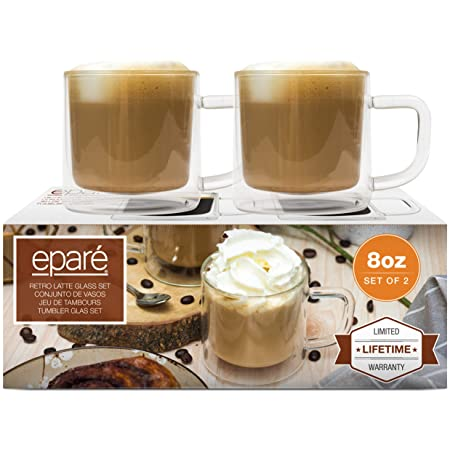 8 oz Latte Glasses - Set of 2 - Clear Double Wall Cup Coffee Glassware with Handle - Espresso Macchiato Cappuccino or Tea Insulated Mugs by Eparé Product Name