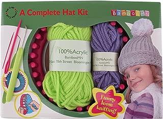 Loom Knitting Pattern Kit For Beginners - Hat Set - Green Hat & Purple Pompom - BambooMN