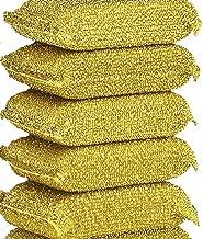 Non-Scratch Scrub Sponges Pads, Cleaning Scrub Sponge, Dish Wash Sponge, Kitchen Sponge, Multi-Use Heavy Duty Scrub Sponge 6 Packs (Gold)