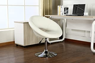 Roundhill Furniture Contemporary Chrome Adjustable Swivel Chair with White Seat