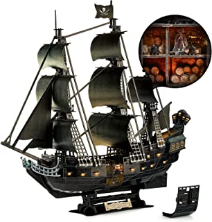 CubicFun 3D Puzzle for Adults Moveable LED Pirate Ship Puzzles with Detailed Interior, Large Queen Anne's Revenge Sailboat Desk Model Kits, Difficult Puzzles with Lights Watercraft Gifts for Men Women