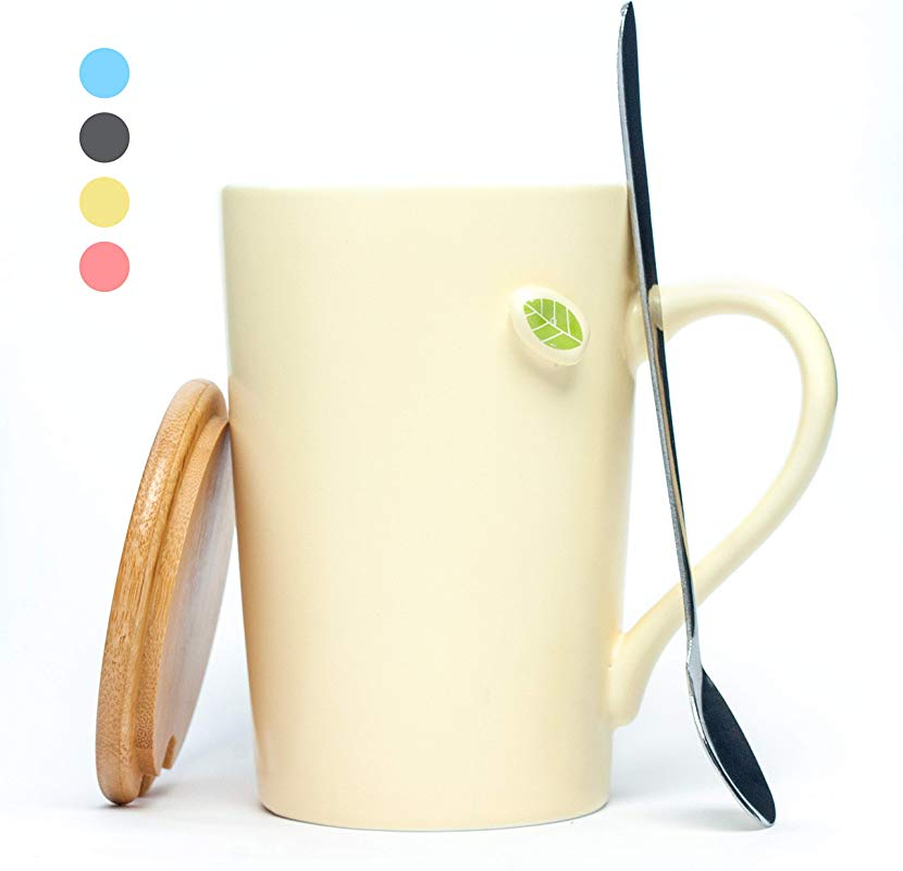 Click Image To Open Expanded View Coffee Mugs Tea Cups With Lid And Spoon 13 5 OZ Black Coffee Mugs Ideal For Coffee Tea Cold Drinks