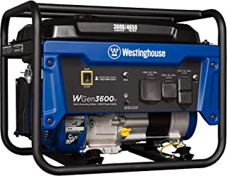 Westinghouse WGen3600v Portable Generator – 3600 Rated Watts & 4650 Peak Watts..