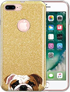FINCIBO Case Compatible with Apple iPhone 7 Plus / 8 Plus, Shiny Sparkling Gold Bling Glitter TPU Protector Cover Case for iPhone 7 Plus / 8 Plus (NOT FIT iPhone 7/8) - English Bulldog