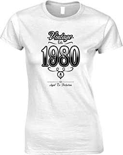 Tim And Ted 40th Birthday Womens Tshirt Vintage 1980 Aged to Perfection