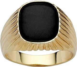 Men's 14K Yellow Gold Plated Rectangular Shaped Natural Black Onyx Ribbed Ring