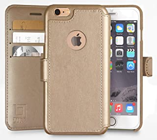 LUPA iPhone 6S Wallet case, iPhone 6 Wallet Case, Durable and Slim, Lightweight with Classic Design & Ultra-Strong Magnetic Closure, Faux Leather, Gold, for Apple iPhone 6s/6
