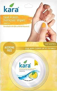 Kara Lemon Nail Polish Remover Wipes, 30 Count (Pack of 3)