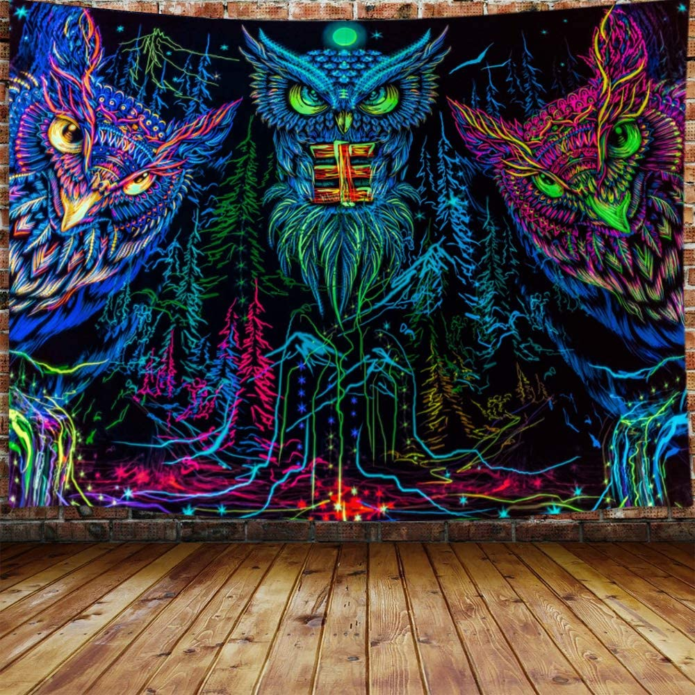 Moon Animal Bird Blacklight Tapestry Home Decor 60 W X 40 H Trippy Forest Line Art Tapestry Wall Hanging for Bedroom JAWO Psychedelic Owl Tapestry