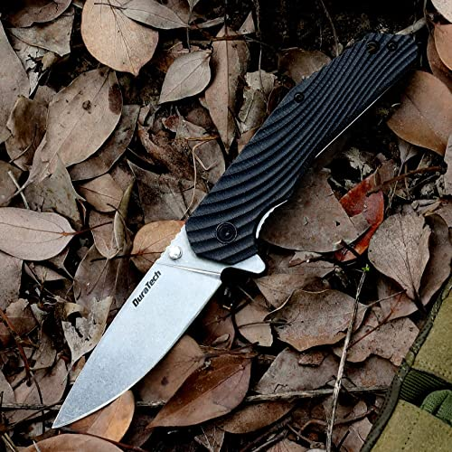 new arrival DuraTech Folding popular Knife, 3-1/4 inch Stainless Steel Blade discount – Black Wavy Grain G10 Handle with Liner Lock Mechanism & Deep Carry Clip, for EDC, Outdoor, Camping, Survival outlet sale
