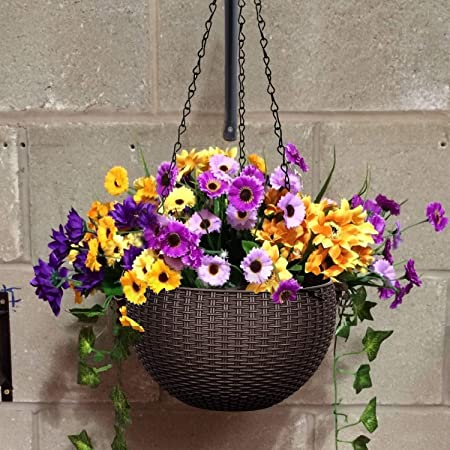 Fing Hanging Basket Planters-Rattan Plastic Flower Pot Resin Woven Wicker Style, Great for Home, Garden, Patio,Outdoor