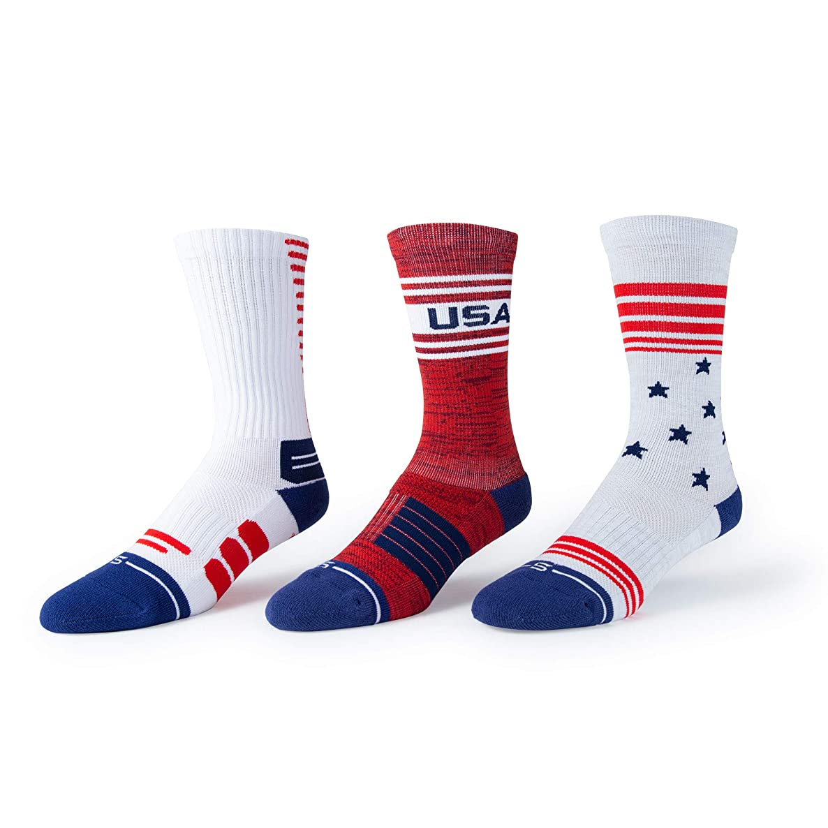 Select Threads USA American Flag Stars and Stripes Crew Socks - 3 Pack
