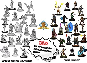 20 Random D&D Dungeons and Dragons Nolzur's Unpainted Player Character Miniatures: Elves/Drow/Half Elf minis with 4X 7-Dice & Pouch Sets Plus Golden Groundhog Glue and Treasure Box!
