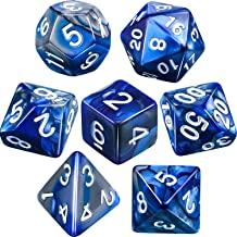 Polyhedral 7-Die Dice Set for Dungeons and Dragons with Black Pouch (Blue Silver)
