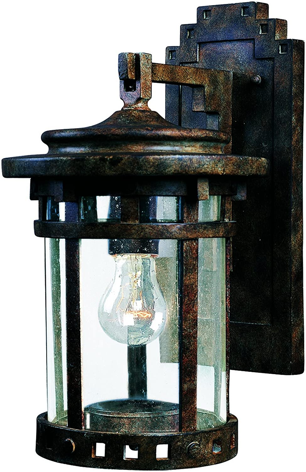 Maxim 3133CDSE Santa Barbara Cast 1-Light Outdoor Wall Lantern, Sienna Finish, Seedy Glass, MB Incandescent Incandescent Bulb , 50W Max., Dry Safety Rating, 2900K color Temp, Standard Dimmable, Glass Shade Material, 15300 Rated Lumens