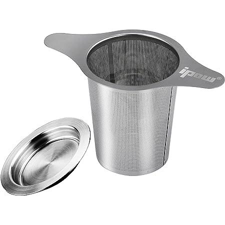 Ipow 茶こし ティーストレーナー ステンレス製 茶葉濾過 深型 マグ、カップ、ポット用茶漉し 双持ち手と蓋がある