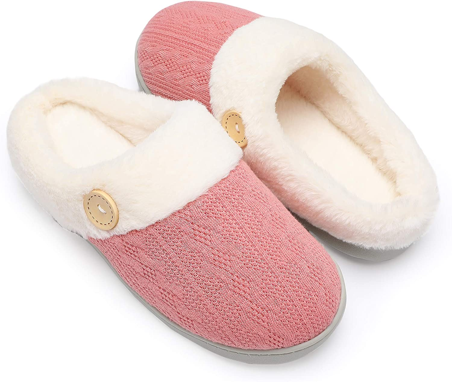 Chantomoo Womens Slipper Warm Comfy Memory Foam House Slippers Knitted Shoes Faux Fur Lined Anti-Skid Rubber Sole Bedroom Cozy Indoor Outdoor Slippers