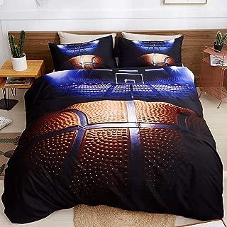 LAMEJOR Duvet Cover Set Queen Size 3D Basketball Pattern Sports Theme Bedding Set Comforter Cover (1 Duvet Cover+2 Pillowcases)