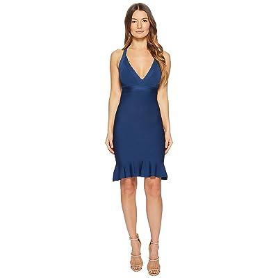 Boutique Moschino Stretch Viscose V-Neck Dress (Blue) Women