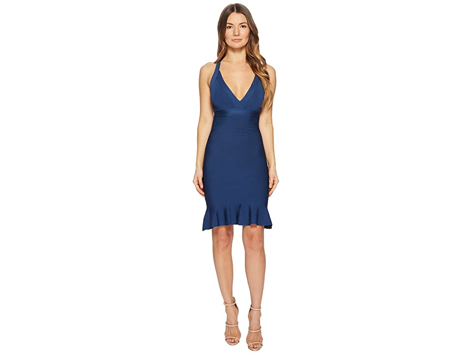 Boutique Moschino Stretch Viscose V-Neck Dress (Blue) Women