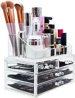 Macallen Makeup Organizer Acrylic Clear: لوازم آرایشی با کشو - نگهدارنده آرایش کشو برای جواهرات رژ لب مراقبت از پوست لوازم آرایشی و بهداشتی Organists Stand Plastic Organizer Desktop Countertop حمام