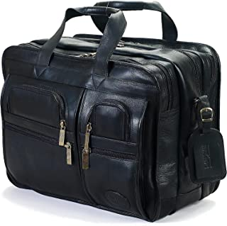 Claire Chase Jumbo Executive Laptop Leather Briefcase, Computer Bag in Black