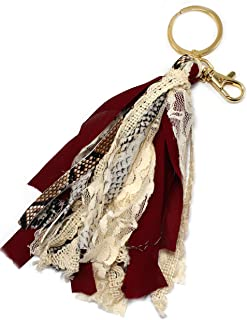 Tassel Key chain & Women Bag Charm Buffalo Plaid Leopard Snake Accessories for unique gift