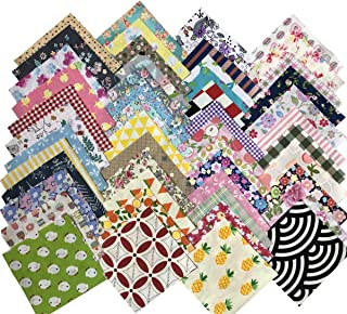 Gnognauq 200 pcs Fabric Squares Sheets Patchwork Craft Cotton Quilting Fabric Bundles DIY Patchwork Crafts with with Different Patterns for Crafts (10cmx10cm)