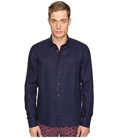 Vilebrequin Linen Long Sleeve Button Up (Navy) Men
