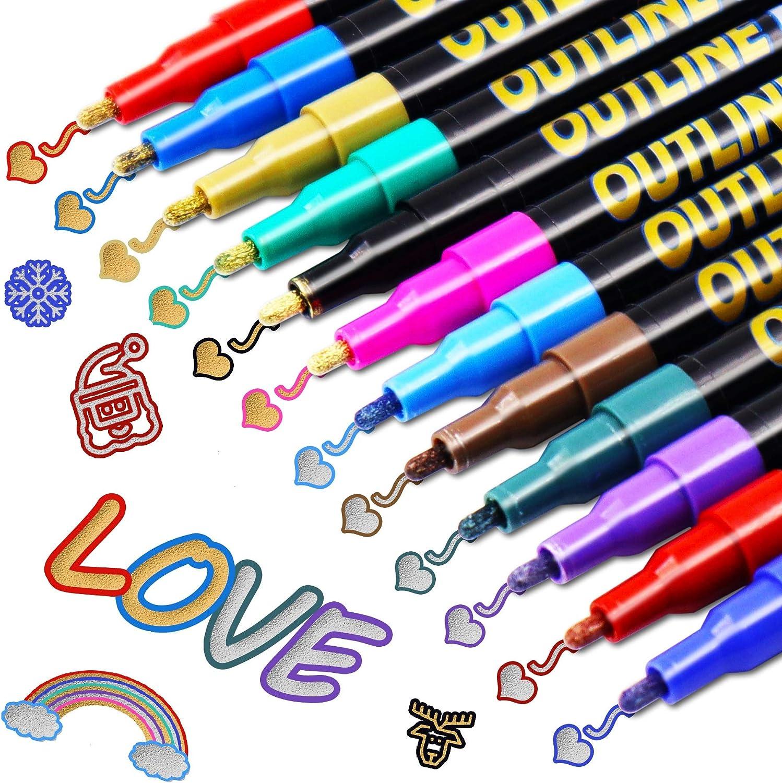Los Bolígrafos de Contorno,VEERUN 12 Colores Brillantes Fluorescentes Bolígrafo para Deslumbrar, para Escribir Tarjetas de Regalo,Felicitaciones de Cumpleaños,(6 Líneas de Oro + 6 Líneas de Plata)