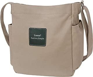Iswee Women Canvas Shoulder Bags Small Handbags Single Shoulder Bag Daily Purse Crossbody Bag