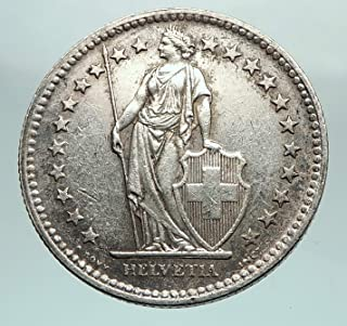1945 CH 1945 SWITZERLAND - SILVER 2 Francs Coin HELVETIA coin Good Uncertified