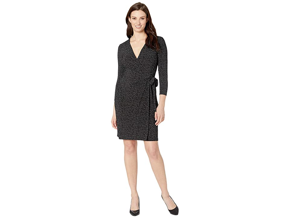 Anne Klein Nightcap Printed Ity Classic Wrap Dress (Anne Black/Morning Light Combo) Women