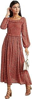 فستان ماكسي بتفصيل مكشكش للنساء، تصميم قبة مربعة وقصة ايه لاين وطباعة زهور ديتسي
