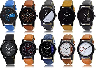 OM DESIGNER Analogue Men's Watch (Assorted Dial Multi Colored Strap) (Pack of 10)