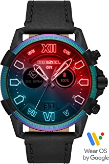 Diesel On Men's Full Guard 2.5 Touchscreen Stainless Steel and Leather Smartwatch, Black and Multicolor Iridescent crystal-DZT2013
