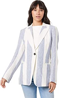TOMMY HILFIGER Women's Stripe Linen Blazer, Beach Stripeipe/Medium Blue