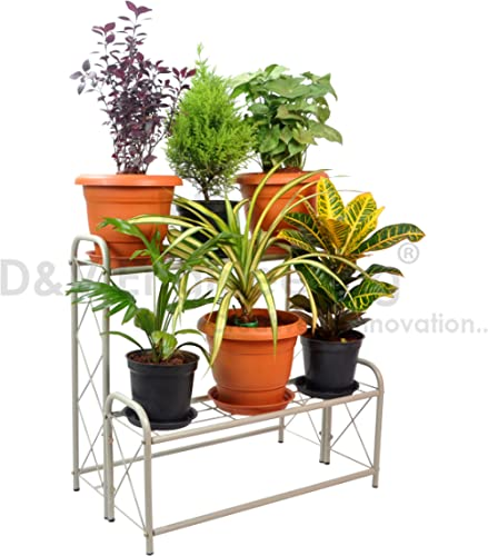 D&V Engineering Metal 2-Step, 6 Planter Indoor/Outdoor Flower Pot Stand, Plant Stand, Kitchen Shelf Stand for Home Decor, Office, Garden, Balcony Decor (White, 6 Pot Step Type) product image