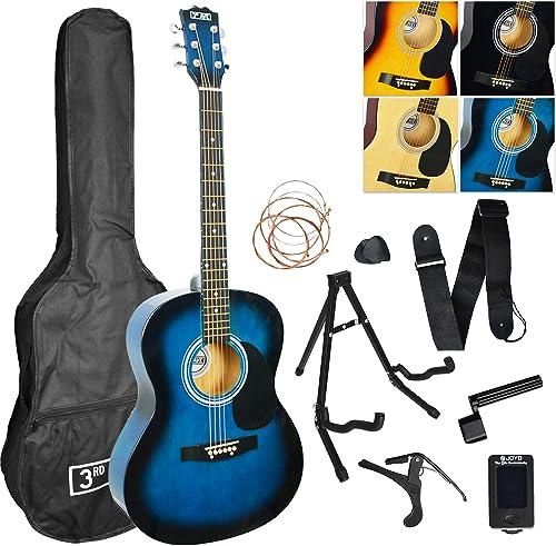 Chitarra acustica confezione, blu (blueburst) 3rd avenue STX10ABBPK2