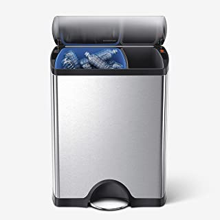 simplehuman 46 Liter / 12.2 Gallon Rectangular Dual Compartment Recycling Kitchen Step Rubbish Bin, Brushed Stainless Steel