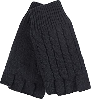 HEAT HOLDERS - Cable Knit Winter Warm Thermal Fingerless Gloves for Women with Fleece Lining