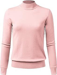 JSCEND Women's Mock Neck Long Sleeve Solid Basic Soft Stretch Pullover Knit Sweater